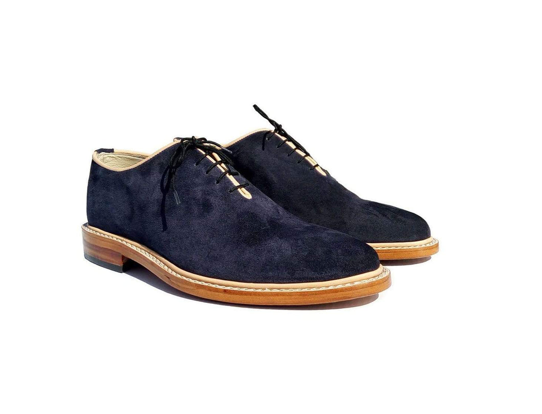 Handmade Navy Blue Suede Derby Lace Up Shoes - leathersguru