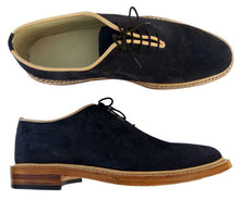 Load image into Gallery viewer, Handmade Navy Blue Suede Derby Lace Up Shoes - leathersguru