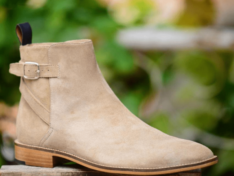 Handmade Men's Ankle High Beige Suede Jodhpurs Buckle Boot - leathersguru