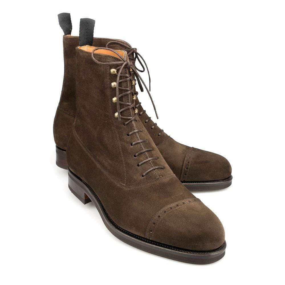 Handmade Men's Ankle High Suede Brown Cap Toe Lace Up Boot - leathersguru