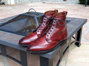 Handmade Burgundy Wing Tip Brogue Leather Boot - leathersguru