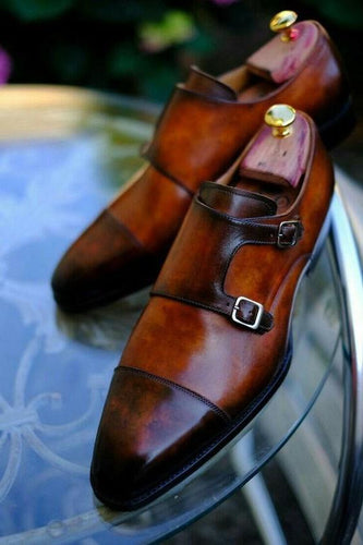 Handmade Two Tone Brown Double Monk Shoe - leathersguru