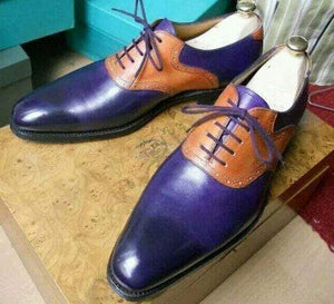 Handmade Navy Blue Tan Leather Derby Lace Up Shoes - leathersguru