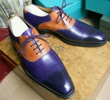 Load image into Gallery viewer, Handmade Navy Blue Tan Leather Derby Lace Up Shoes - leathersguru