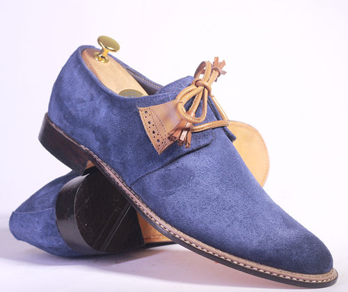 Bespoke Blue Suede Side Lace Up Shoe for Men - leathersguru