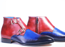 Load image into Gallery viewer, Handmade Blue & Burgundy Leather Double Monk Boot For Men's