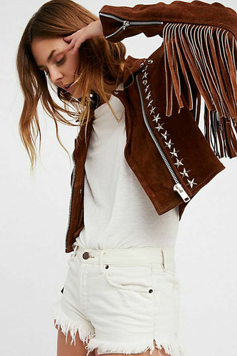 Handmade Brown Fringe Stud Jacket for women, Women studded Suede biker Jacket - leathersguru