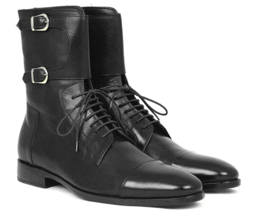 Handmade Men's Cap Toe black high Ankle leather boot - leathersguru