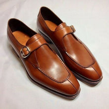Load image into Gallery viewer,  Men Tan Brown Formal Monk Shoes, Men Dress Leather Shoes, Shoes For Men