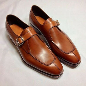 Men Tan Brown Formal Monk Shoes, Men Dress Leather Shoes, Shoes For Men