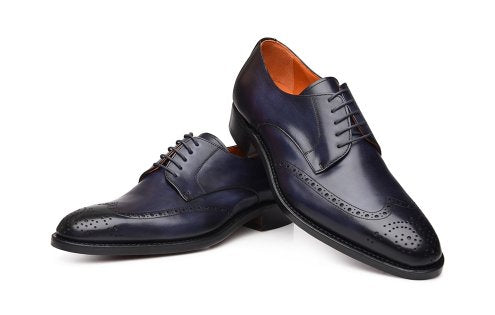 Handmade Men's Navy Color Leather Shoes, Wing Tip Brogue Dress Lace Up Shoes