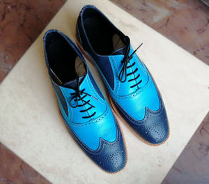 Handmade Men's Wing Tip Lace Up Shoes, Men's Navy Blue Leather Brogue Shoes