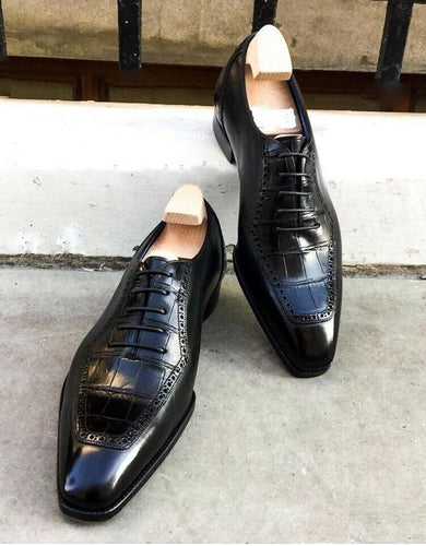 Men's Black Alligator Shoes For Men, Black Crocodile Shoes