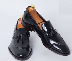 Hand Crafted Black Tussle Loafer Leather Shoes for Men - leathersguru
