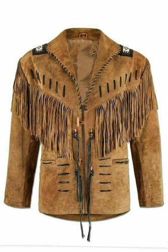 Handmade Men's Western Suede leather jacket, Men coy boy western Fringe Jacket - leathersguru