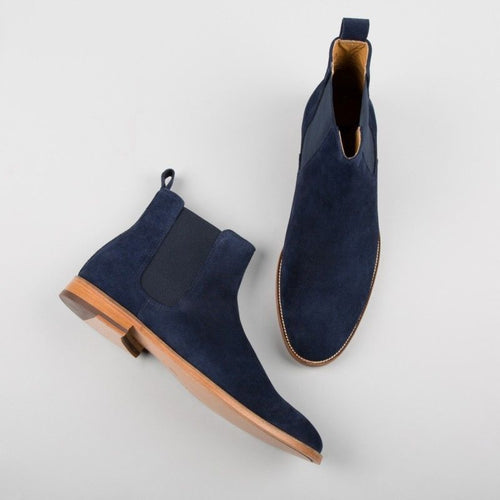 Bespoke Ankle High Blue Chelsea Suede Dress Boot,Oxford Shoes - leathersguru