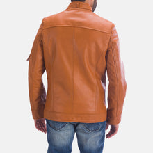 Load image into Gallery viewer, Handmade Tan Brown Leather Jacket For Men's