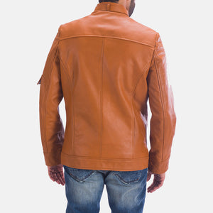 Handmade Tan Brown Leather Jacket For Men's