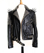Load image into Gallery viewer, Handmade Women Black Color Silver Studded Leather Jacket