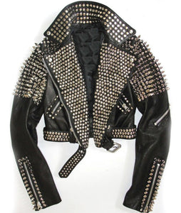 Women Black Leather Rock Women Steam Punk Style Studded Biker Jacket Silver Long Studs