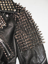 Load image into Gallery viewer,  Women Black Leather Rock Women Steam Punk Style Studded Biker Jacket Silver Long Studs
