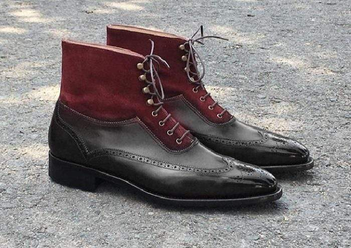 Handmade Men's Ankle High Black Maroon Leather Suede Wing Tip Boot - leathersguru