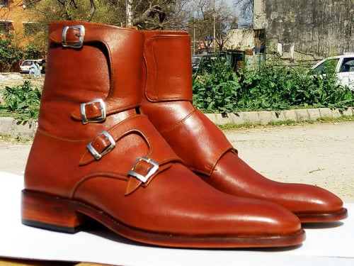 Bespoke Tan Leather High Ankle Monk Strap Boots - leathersguru
