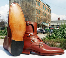 Load image into Gallery viewer, Bespoke Tan Leather High Ankle Monk Strap Boots - leathersguru