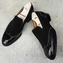 Load image into Gallery viewer, Bespoke Black  Suede Leather Wing Tip Toe Loafer Shoe - leathersguru