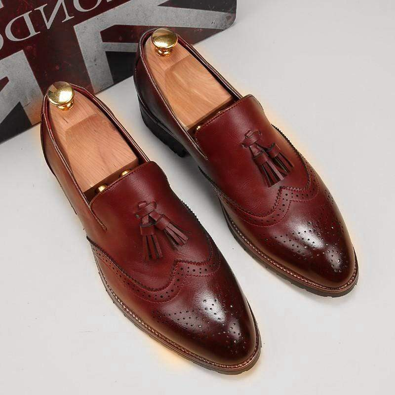 Men's Burgundy Loafers Tussles Shoe - leathersguru