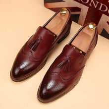 Load image into Gallery viewer, Men's Burgundy Loafers Tussles Shoe - leathersguru