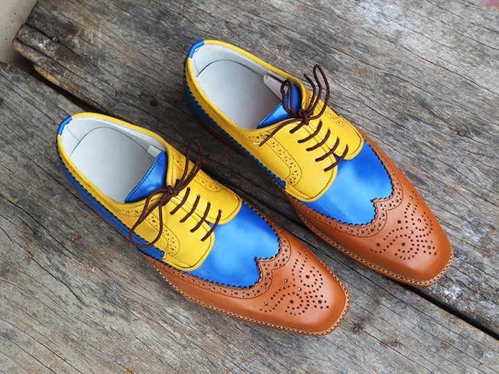 Bespoke Multi Color Leather Wing Tip Lace Up Shoe for Men's - leathersguru