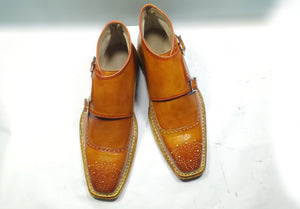 Handmade men's Tan Color Leather Boot, Men's Double Monk Strap dress Formal Boot