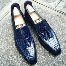 Load image into Gallery viewer, Men Navy Blue Crocodile Shoes, Crocodile Textured Leather For Mens
