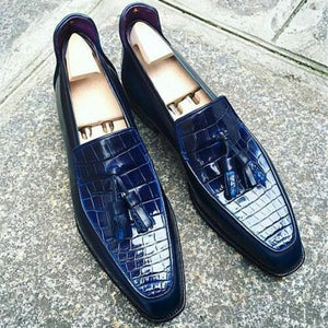 Men Navy Blue Crocodile Shoes, Crocodile Textured Leather For Mens