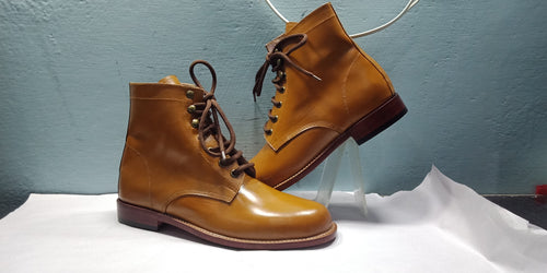 Tan Lace Up Pure Leather Ankle Boot For Men's