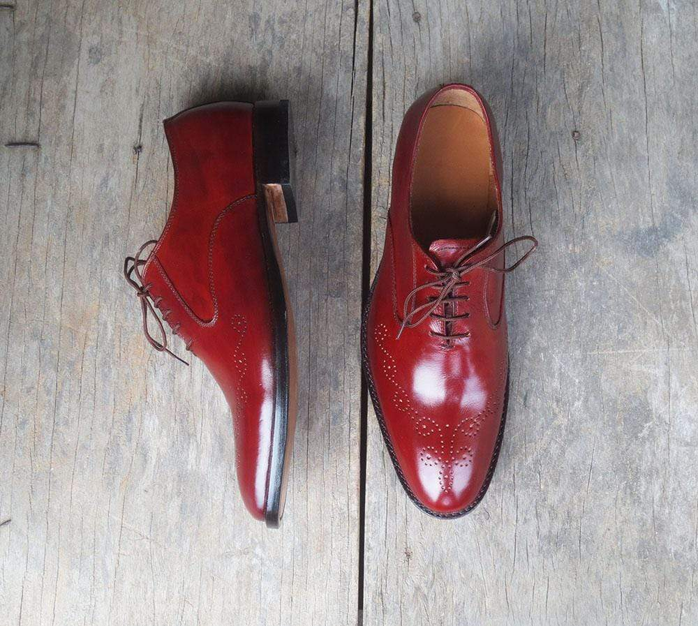 Handmade Burgundy Brogue Men's Leather Shoe - leathersguru