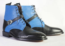 Load image into Gallery viewer, Bespoke Black Sky Blue Leather Ankle Buckle Up Boots - leathersguru