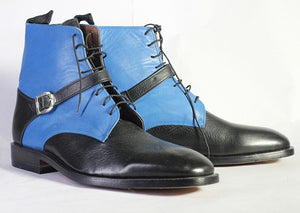 Bespoke Black Sky Blue Leather Ankle Buckle Up Boots - leathersguru