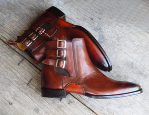 Handmade Brown Leather Triple Buckle Boot - leathersguru
