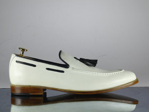 White Loafer Tussle Leather Shoes ,Handmade Formal Shoes