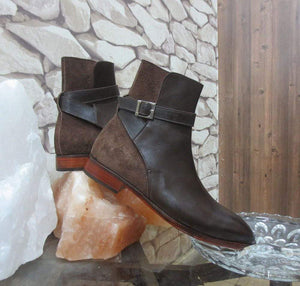 Handmade Men's Brown Jodhpurs Leather Suede Boot - leathersguru