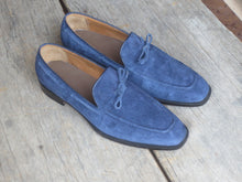 Load image into Gallery viewer, Bespoke Navy Blue Tussle Loafer Suede Shoe for Men's - leathersguru