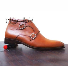 Load image into Gallery viewer, Handmade Tan Leather Double Monk Strap Boots - leathersguru