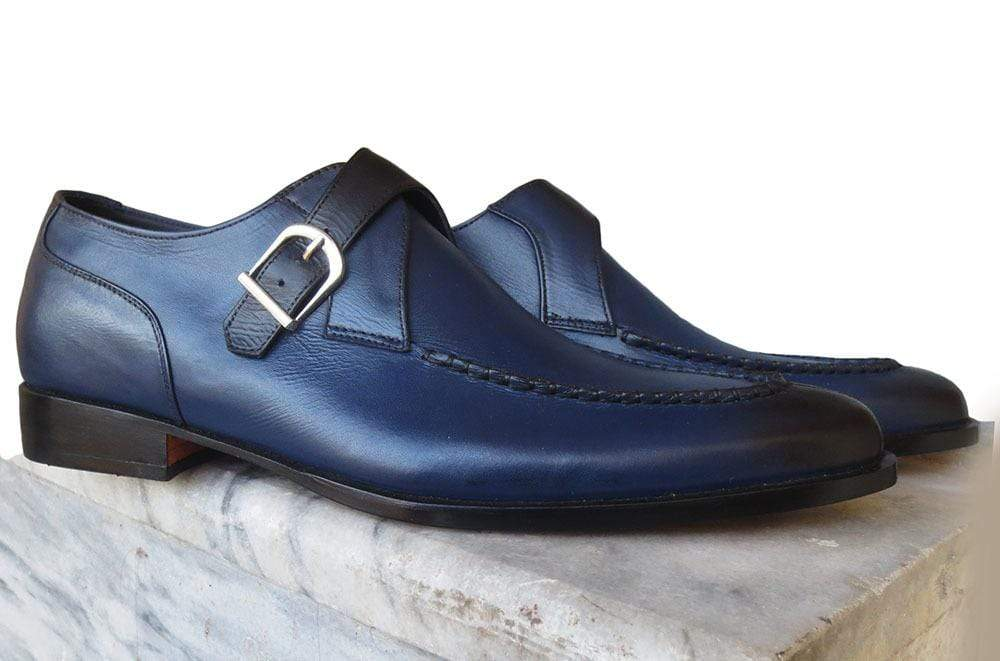 Handmade Blue Monk Strap Leather Shoe - leathersguru