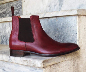 Men's Burgundy Chelsea Ankle Boot - leathersguru