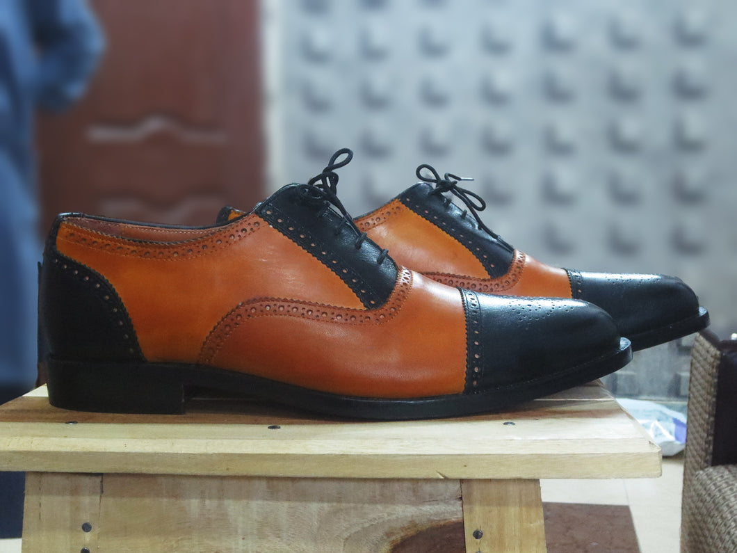 Bespoke Black and Tan  Leather Cap Toe Lace Up Shoe for Men - leathersguru