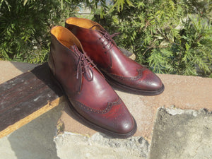 Handmade Men's Burgundy Leather Chukka Wing Tip Boot - leathersguru
