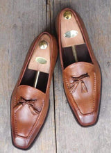 Load image into Gallery viewer, Handmade Brown Tussles Leather Loafers For Men's - leathersguru
