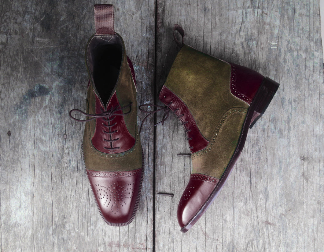 Bespoke Two Tone Leather Suede Ankle Cap Toe Lace Up Boot - leathersguru